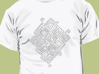 T-shirt pattern with Ancient Mizyn Culture Ornament