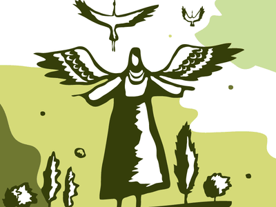 Mother-Nature with Birds illustration