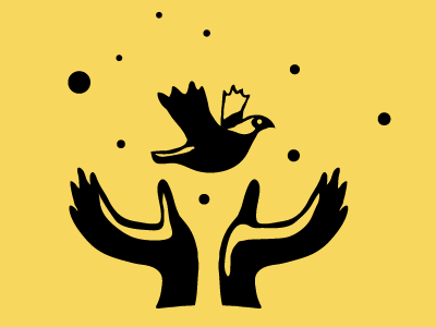 Bird in hands illustration