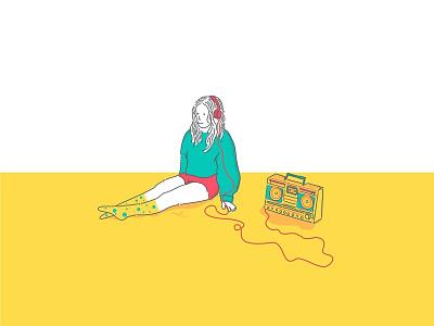radio ux ui cartoon vector cover colourfull fresh radio music funart illustration