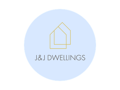 J J Dwellings Logo house circle futura logo identity brand