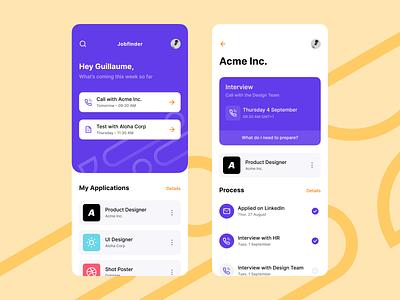 Job Finder App apply call application interview purple finder job concept design iphone app ux ui