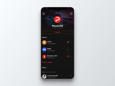 FACEIT Mobile App figma beta social feed posts messaging chat stats faceit pubg csgo design iphone motion app ux ui