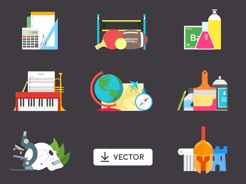 Free Vector School Illustration illustrator history biology geography music chemistry mathematics sport school vector free freebie
