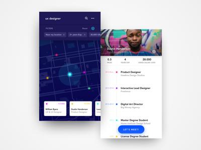 UI Concept: Job Meeting App match figma localization resume daily concept app meeting job ux ui