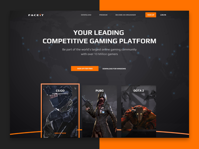 FACEIT New Landing Page competitive landing page gaming video pubg dota2 csgo faceit design ux ui