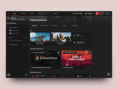 FACEIT New UI - Create Party desktop browser platform gif product design product pubg csgo esport esports videogame faceit dashboard ui dashboard design motion app ux ui