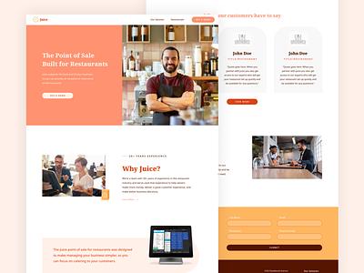 Website: Juice Point of Sale orange branding website juice restaurant restaurant website