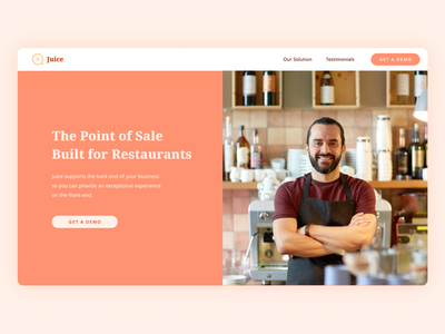Website: Juice Point of Sale point of sale restaurant website orange