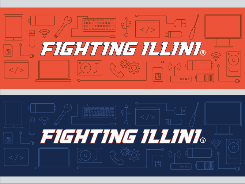Illinois Athletics IT Services Twitter Image tech technology blue orange twitter services it athletics icons