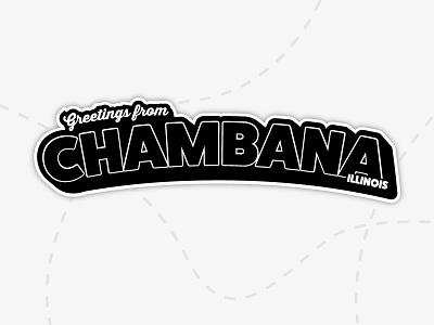 Chambana Laptop Sticker black and white white black vector sticker laptop illiniois chambana