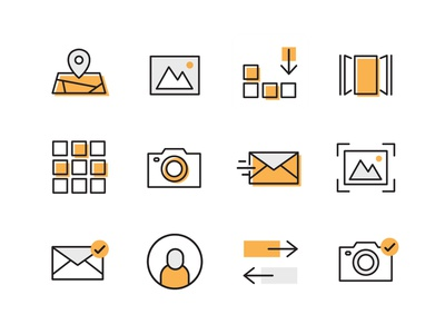 Icons Icons Icons tech outline offset drop orange icons