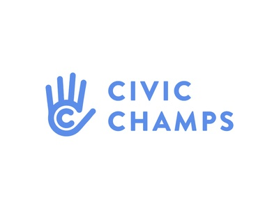 Civic Champs Logo hand civic volunteer app blue branding logo