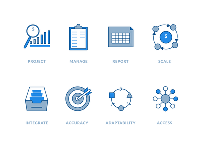 Icons Set blue icons projection finance financial tech