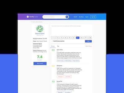 RateMyInvestor | Investor Profile tool startup product design screen ui investor rate