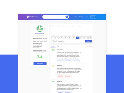 RateMyInvestor   Investor Profile tool startup product design screen ui investor rate