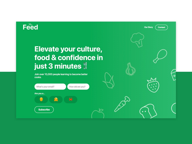 The Feed   Landing Page V1 feed the flat page icon 2d illustration landing design logo typography web ui clar nic