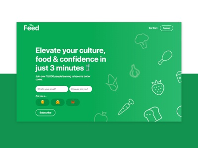 The Feed | Landing Page V1 feed the flat page icon 2d illustration landing design logo typography web ui clar nic