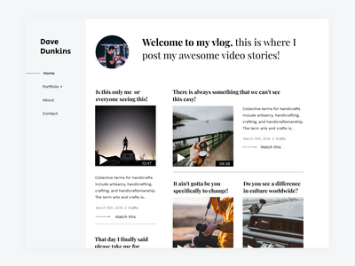 A Vlogging Site Concept Design - Day 2 Of Daily Design blog wordpress flat typography website ui design
