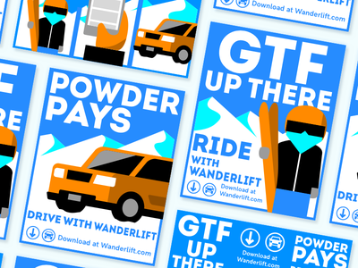 Wanderlift - Rider and Driver Mountain Posters alpine snow snowboard ski rideshare mountain drive car abstract poster colorado denver