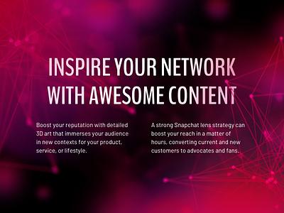 Smoke AR - Inspire Your Network denver colorado dark blender 3d future node pink cloud bubble ar web