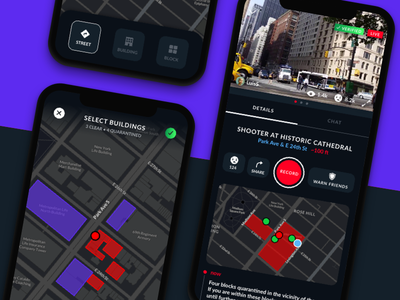Citizen - Quarantine york new live street building alert mobile map dark civilian city urban