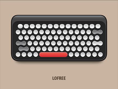 Lofree Keyboard clip art vector illustration typewriter bluetooth retro nostalgia classic nostalgic lofree