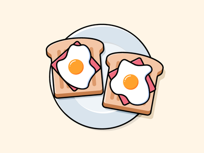 Ham x Egg simple cute snack bread warm illustrator food breakfast design vector illustration toast