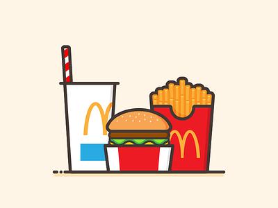 Guilty Pleasure minimal flat art line warm illustrator mcdonalds burger fast edible food design illustration vector