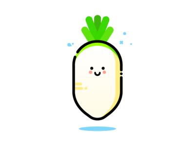 Radish green root carrot cute food vegetable vibrant minimal illustrator illustration design