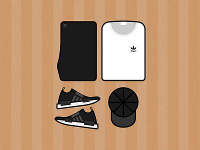 Flat Lay adidas nmd shirt clothing clothes vector design minimal illustrator illustration