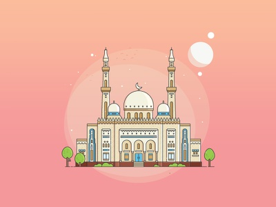 Mosque in the month of Ramadan 1438H flat line flat icon flat design design flat lebaran muslim islam 1438h kareem ramadan mosque