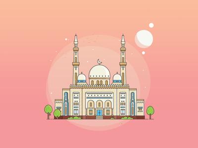 Mosque in the month of Ramadan 1438H flat line flat icon flat design design flat lebaran muslim islam 1438h kareem ramadan mosque