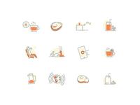 Night sleep with CBD treatment icon sets