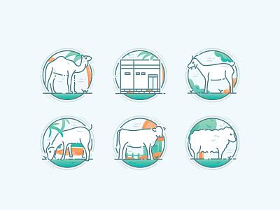 Eid Al-Adha Icon sets sheep goat eid al adha icon line icon icon sets qurban eid illustrations flat illustration flat design flat icons