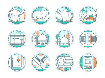 Eid Adha Icon Sets eid mosque camel sheep icon sets line icons flat icon qurban adha illustrations icons flat