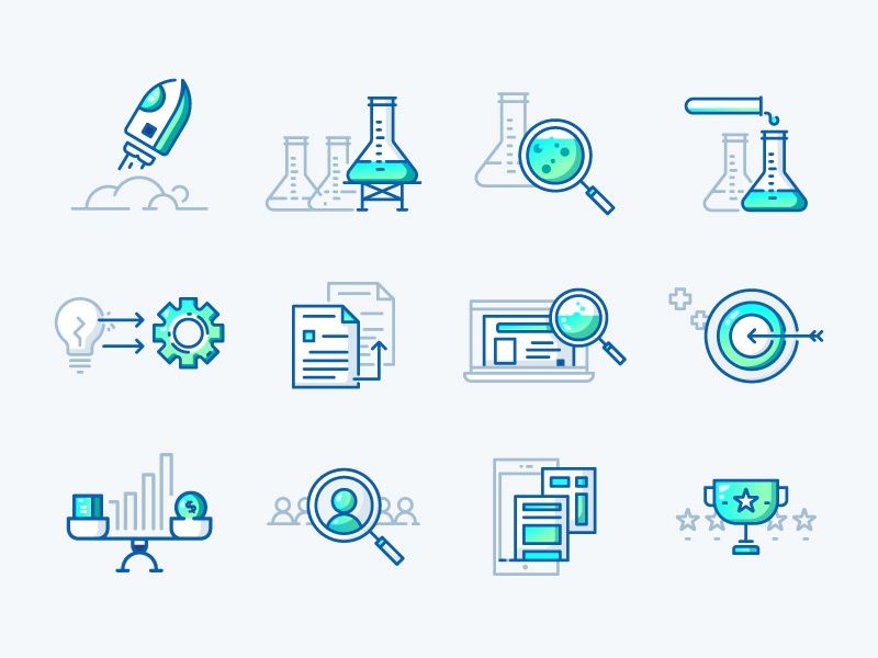Business and Website icon sets infographic apps launch business research icon sets iconography flat design line icon flat icon flat