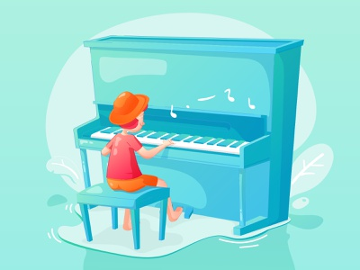 Kid playing piano pianist kid gradient character playing music music piano flat illustration flat design illustration flat