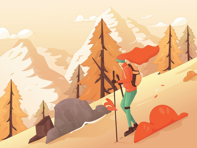 A Pleasant Hike in the Autumn Season hill hiking hike girl woman forest mountain season autumn flat design illustrations illustration flat