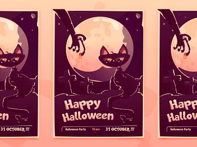 Halloween Party Invitation Card grave black cat cemetery invitation purple zombie cat party flat illustration halloween flyer halloween