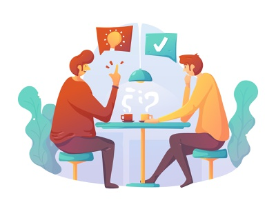 Discussion coffee team discussion discuss chat talk character flat design ux ui flat illustration illustration