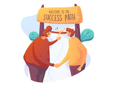 Success Path rich path outdoor flat illustration successful character flat design friend handshake business success illustration
