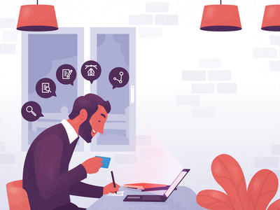 The Content Creator icon content grain texture working laptop blogging marketing illustrations character flat illustration illustration