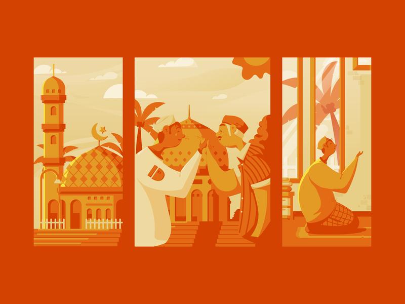 Ramadan Kareem 1440H pray mosque puasa fast flat  design orange character ramadan kareem ramadan illustration flat