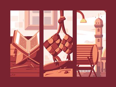Ramadan Kareem things fasting character poster flat design illustration flat muslim islam religion kareem ramadan