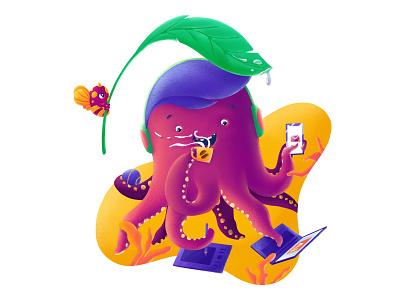 Multi-talented octopus flat illustration custom brushes flatdesign creature coffee freelance artmash procreate illustration octopus