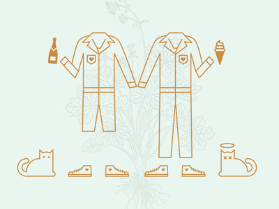 Jumpsuits and Cats Save the Date hightops champagne icecream save the date coveralls jumpsuit cat