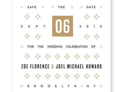 Save the Date save the date glyphs ornament knockout wedding invitation bronze pattern