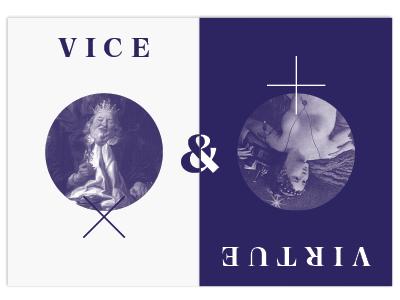 Vice & Virtue negative inverse collage photo chastity gluttony invitation museum art virtue vice