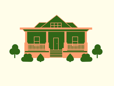New House roof shrub bush south plants illustration home house porch
